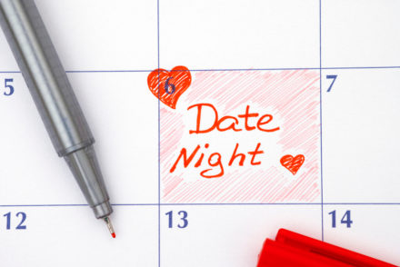 Reminder Date Night in calendar with red pen